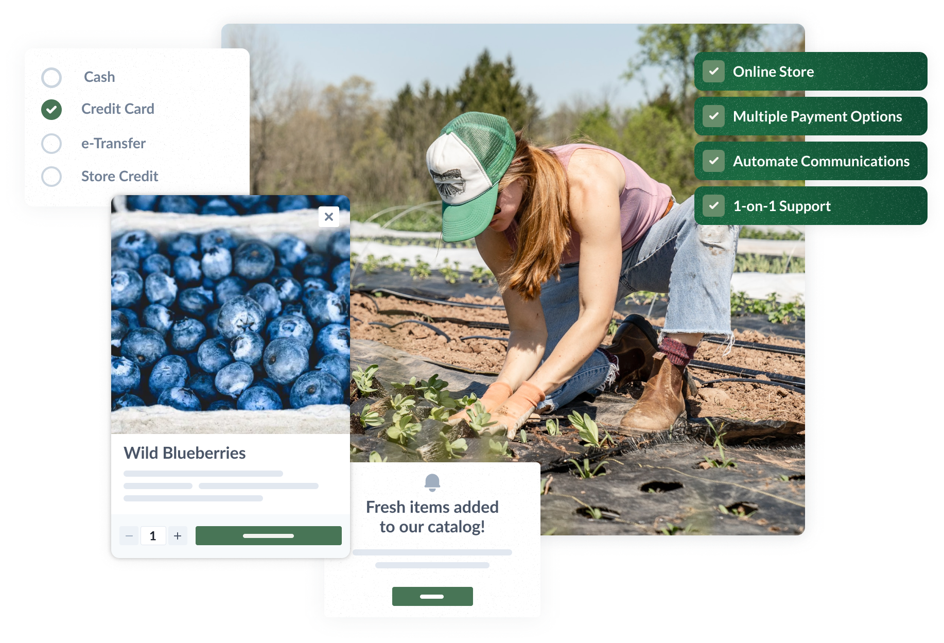 Bring your local food business online. Have an online store, multiple payment options, automate communication with customers, and more.