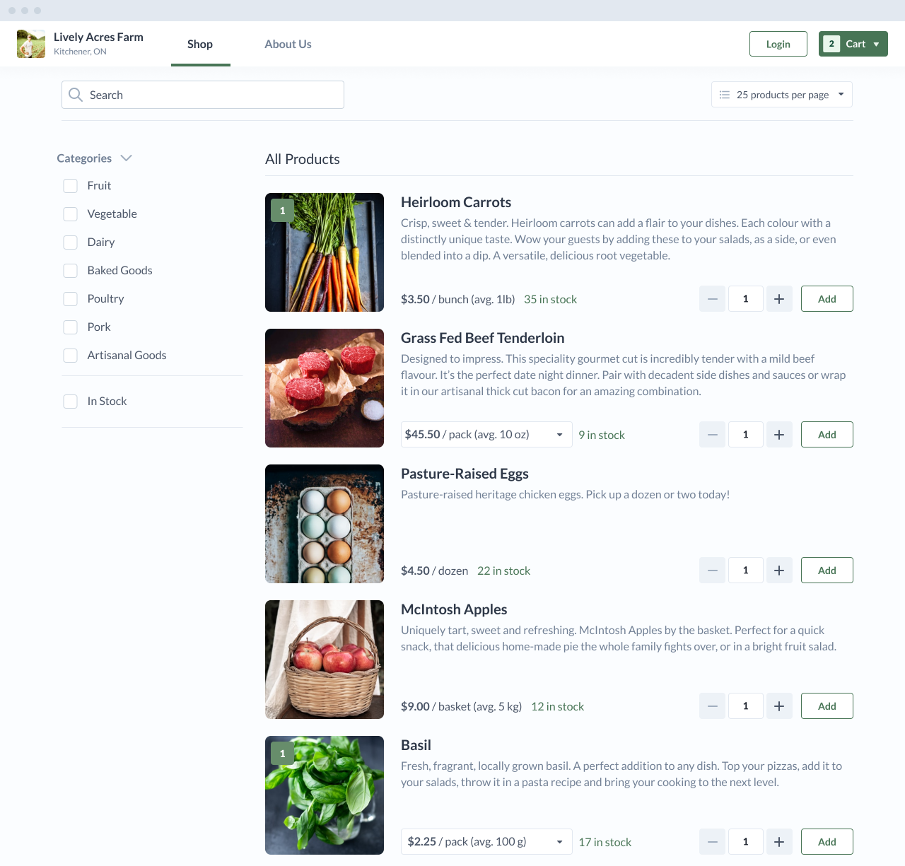 A live screenshot of the Local Line product. Local Farmer selling produce, meat, eggs, and herbs online.