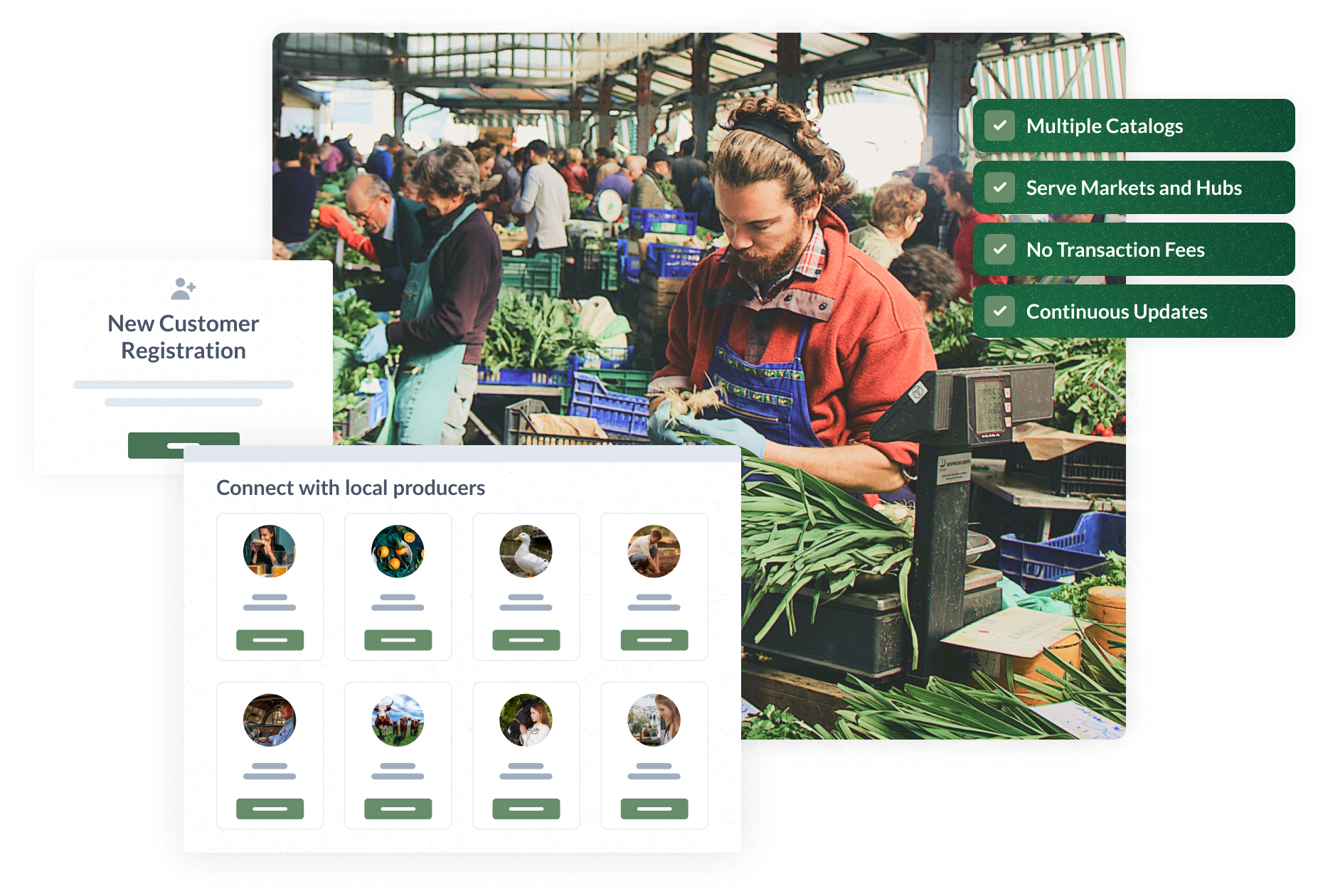 Local Line also offers catalogs, serving markets and food hubs, with no transactions fees and a platform that is continuously improving.