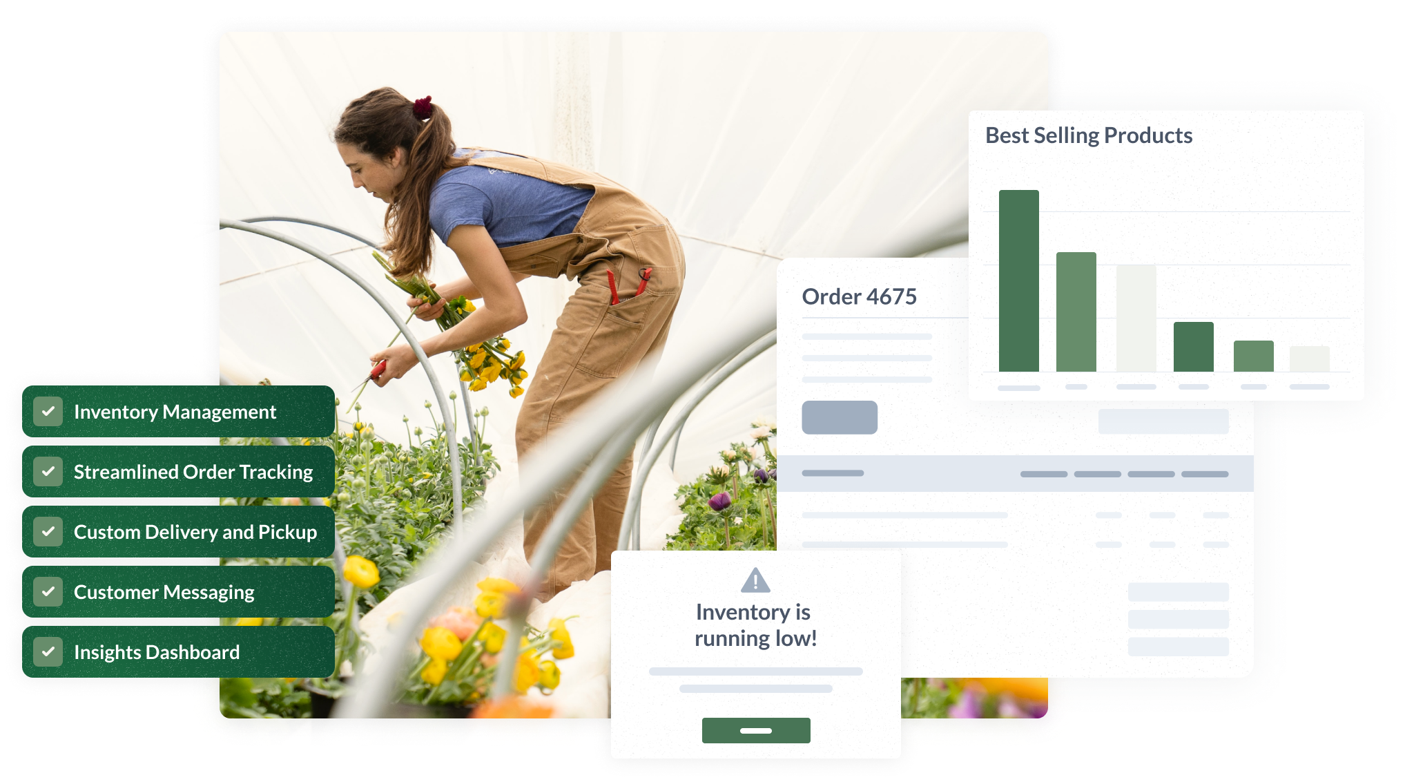 A graphic showing that Local Line offers inventory management, order tracking, delivery and pick-up, reporting, and more