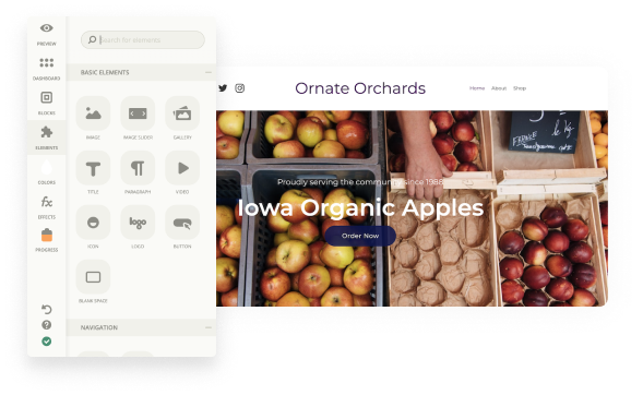 A screenshot of our website builder for farms, farmer's markets, and food hubs