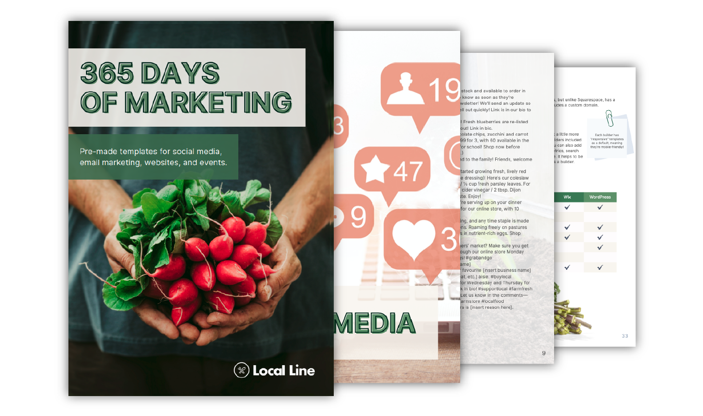 A screenshot of our marketing template guide for local food sellers.