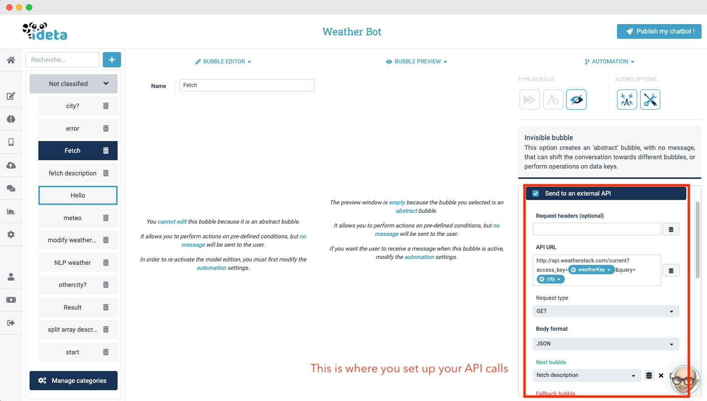 connect slackbot to API