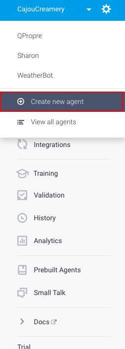 dialogflow tutorial create agent