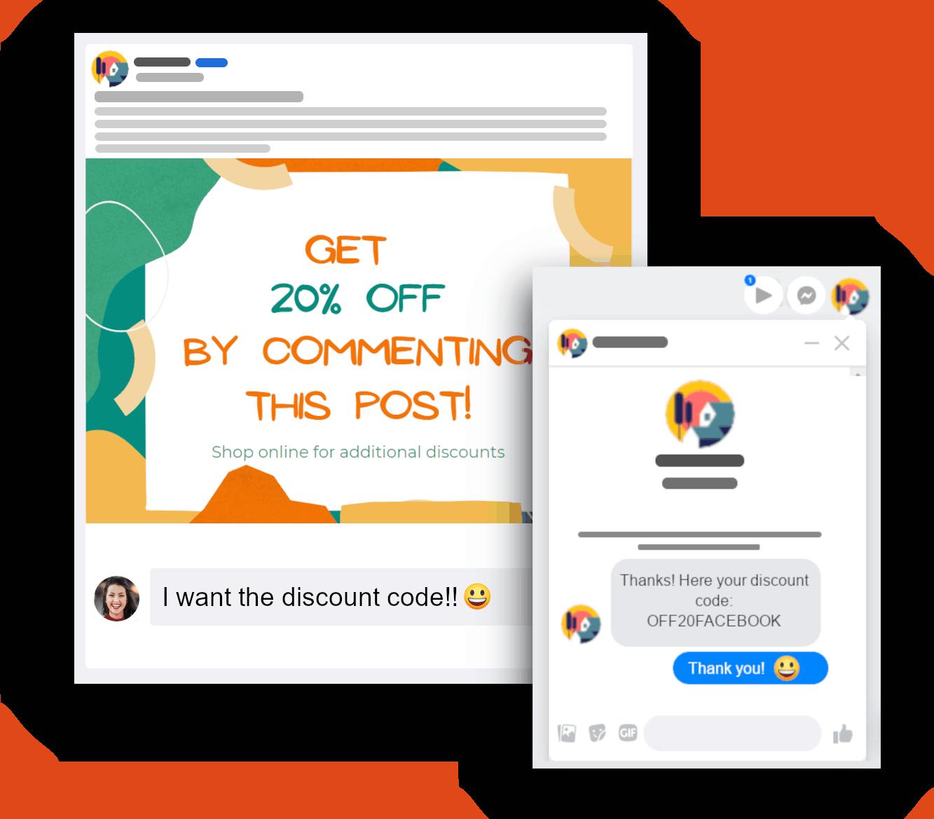 discount facebook auto private message use case