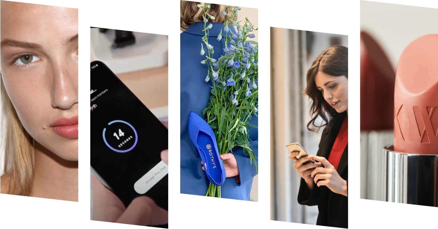 Hero image showing a grid of five images from our partner companies: a Kjaer Weis makeup model, close up of an smartphone using Hero app, a bright blue Rothy's slip on women's shoe, a young lady using her smartphone, and a closeup of Kjaer Weis lipstick.