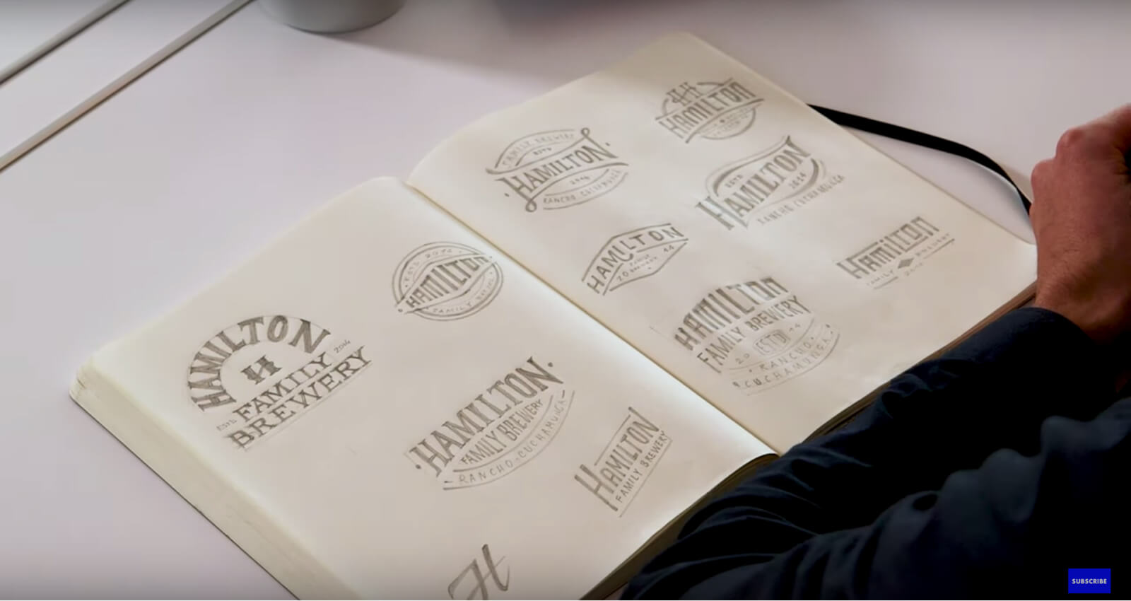 """Hamilton family brewery"" brand sketches"