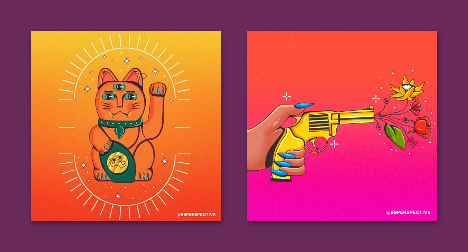 """Japanese Lucky Cat"" & ""Spread Love Not Bullets"" illustrations"