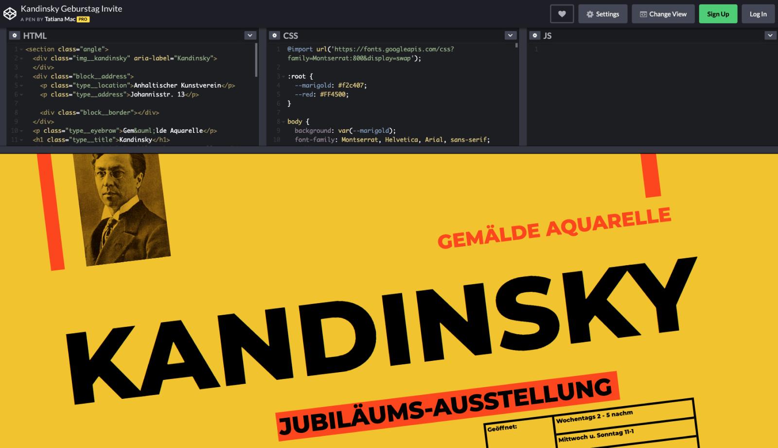 Kandinsky Geburstag Invite - CSS