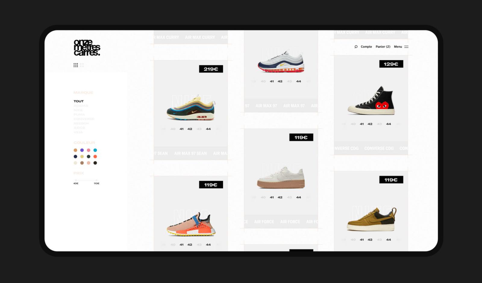 Onze Mètres Carrés - Webdesign