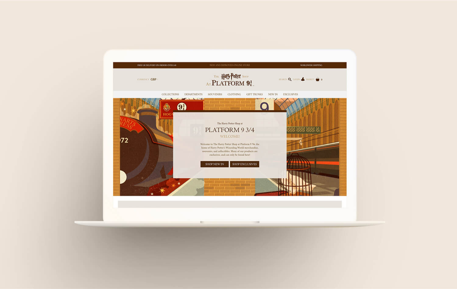 The Harry Potter store at Platform 9 3/4 - online store website redesign