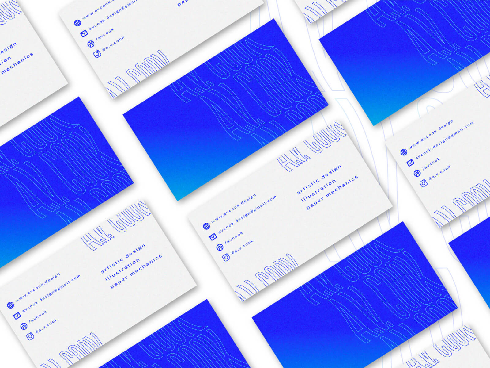 Business cards for A.V. Cook, a designer and illustrator. (See work)