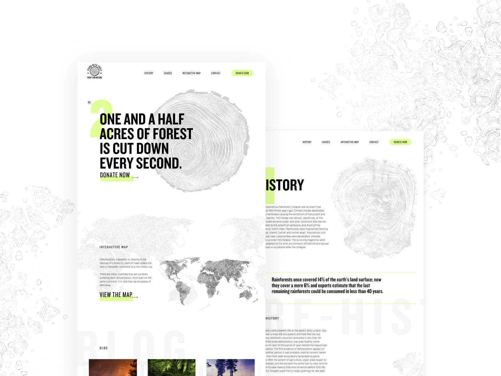 Design concept for a deforestation awareness website. (See project)