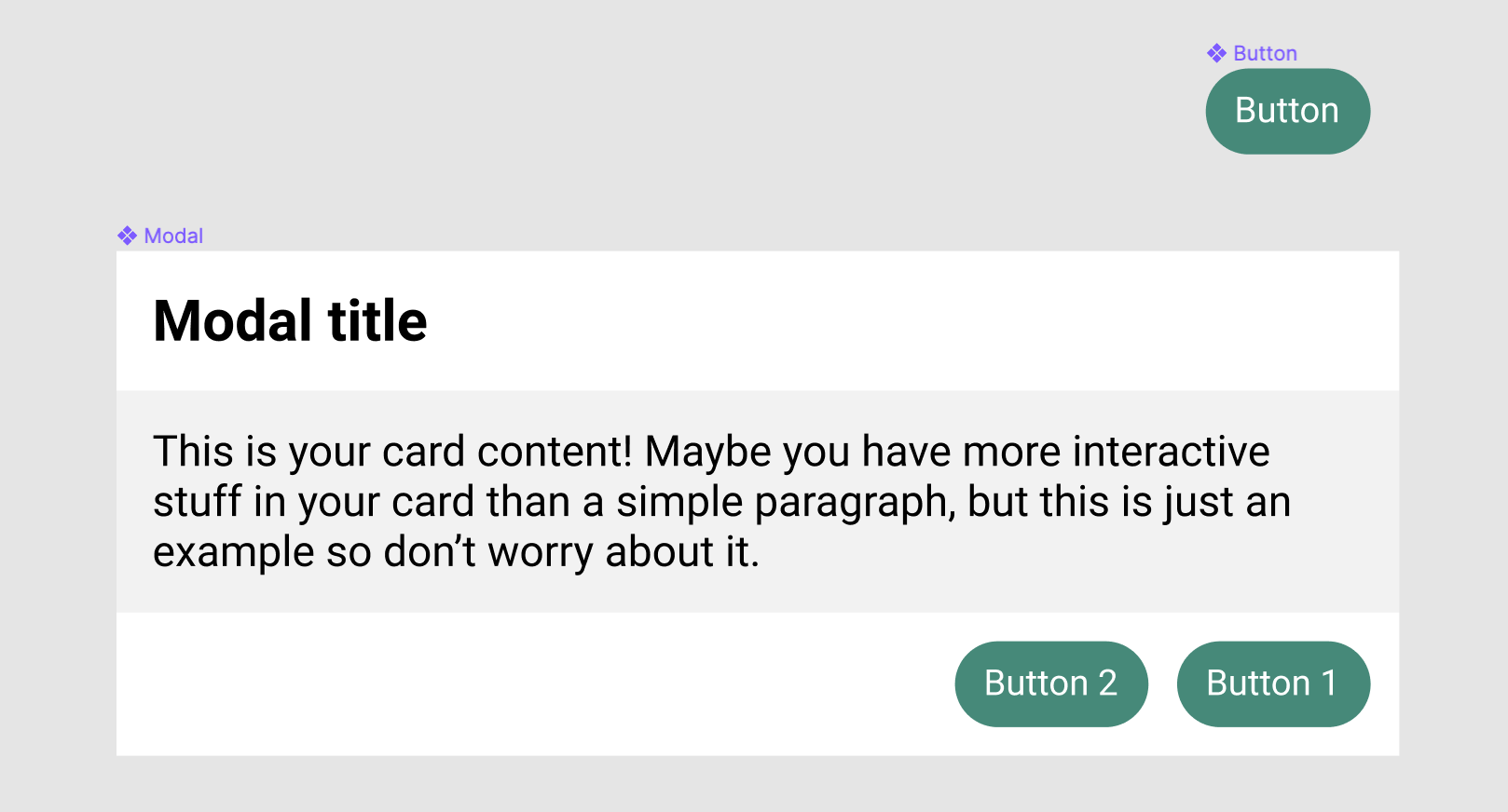 Button component and Modal component in Figma