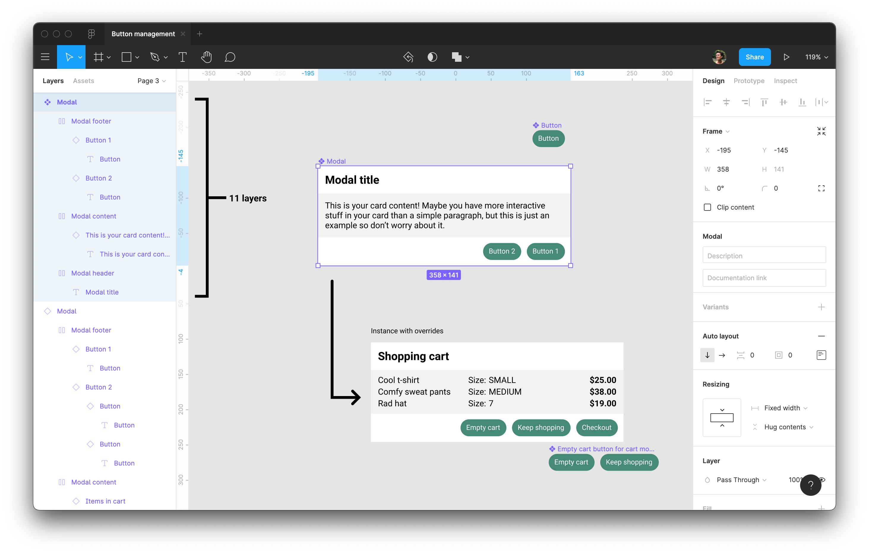 The main modal component's layers expanded to revela all 11 layers