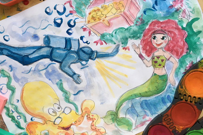 Malen & Zeichnen mit Wasserfarben und Buntstiften für Kinder (7-9) Aufbaukurs