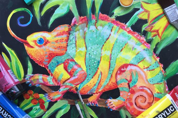 Acrylmalerei: Lustige und exotische Tiere
