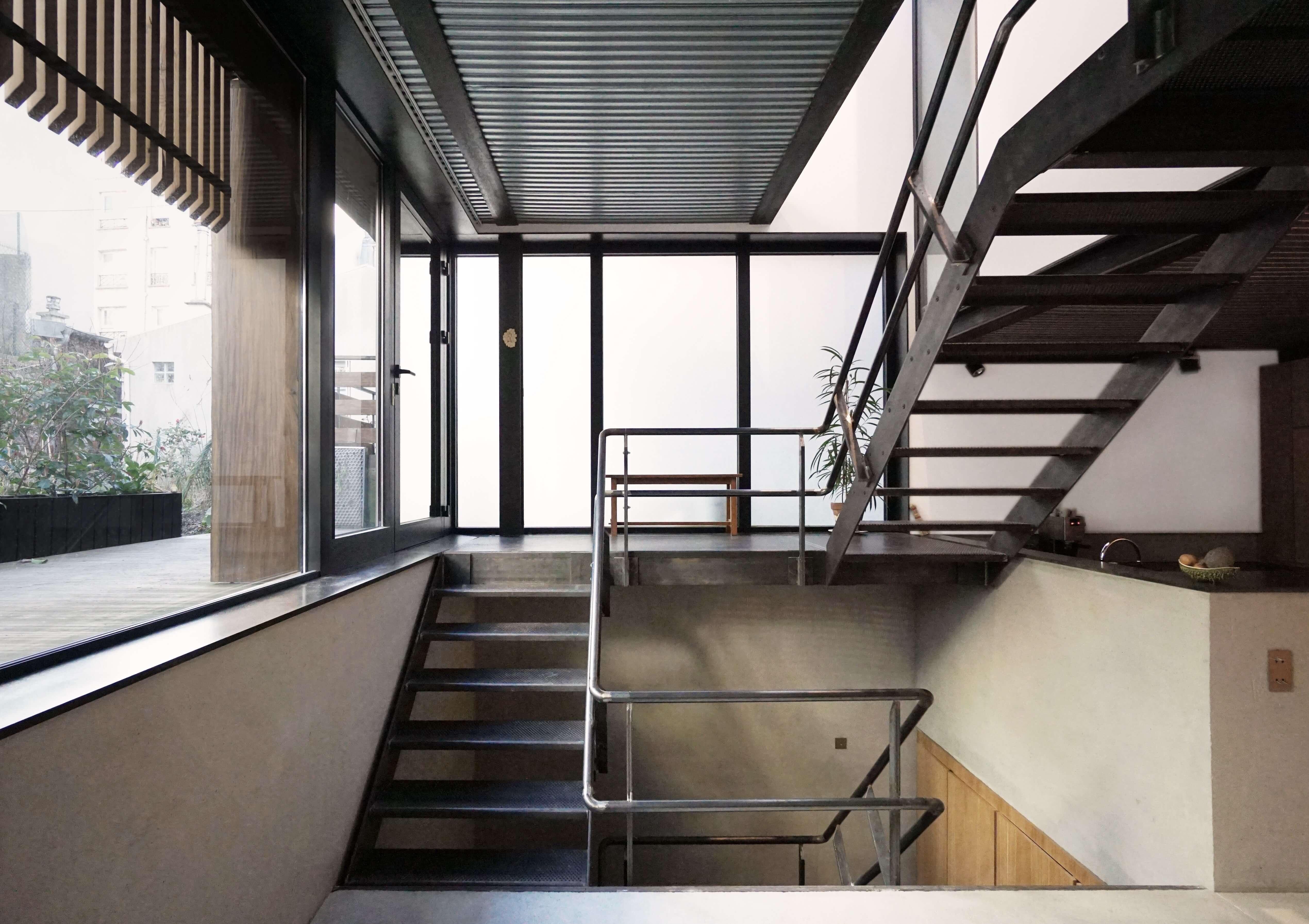 escalier transparent tournant