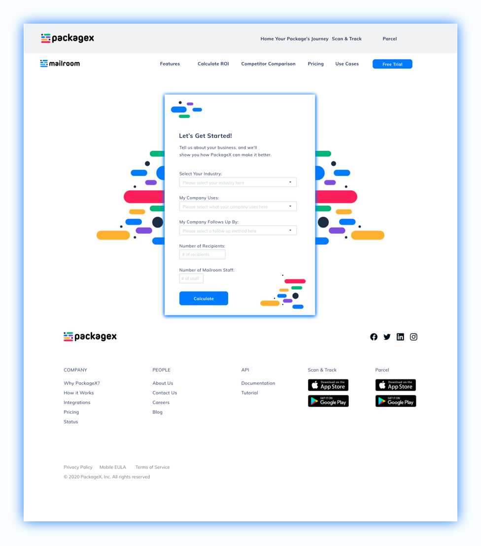 packagex-roi-calculator-feature-page-ui-mockup