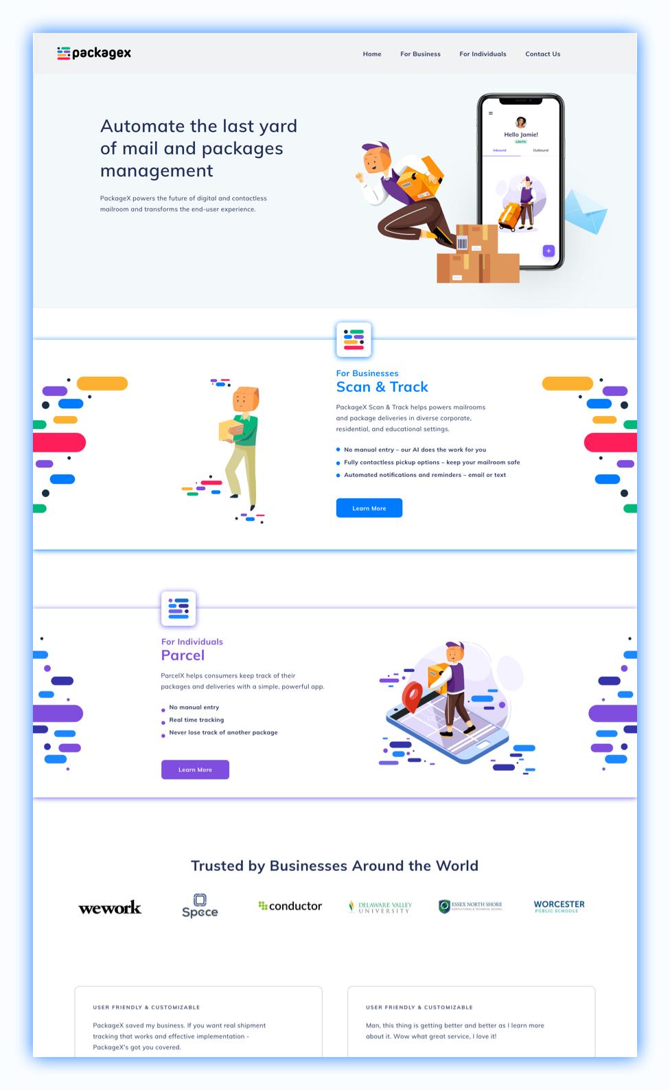 packagex-homepage-ui-mockup