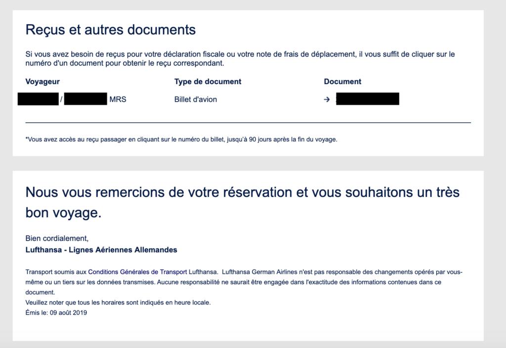 Section Reçu et autres documents dans mail de confirmation de Lufthansa
