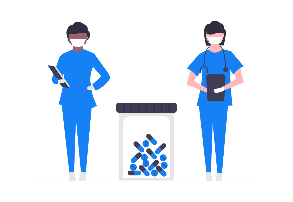 médecins réalisant un test PCR