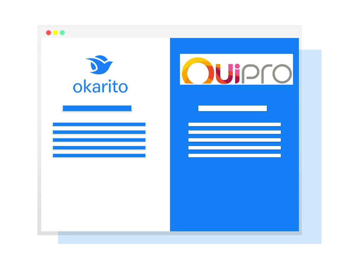 image comparaison Ouipro et Okarito