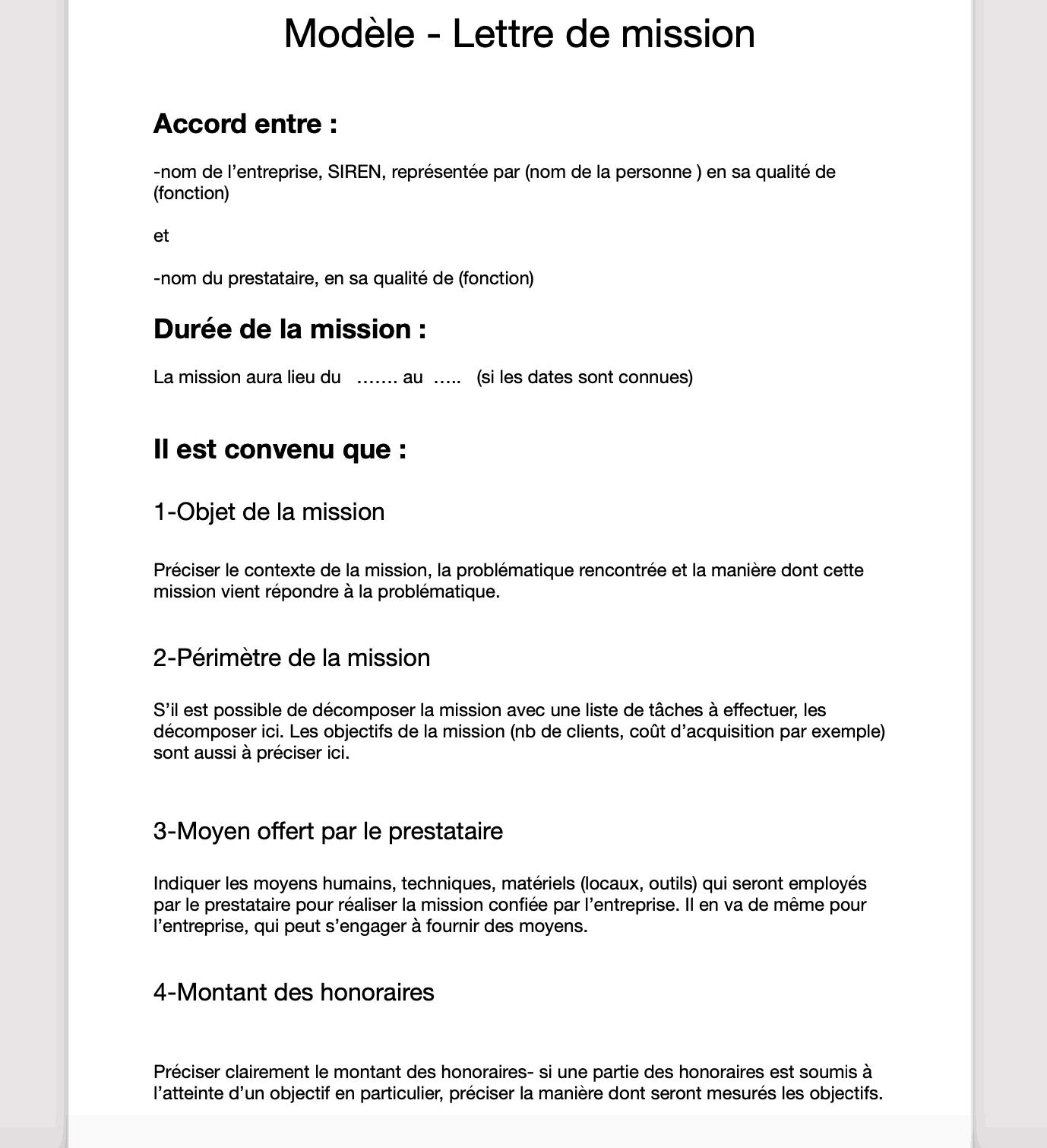 lettre de mission modèle
