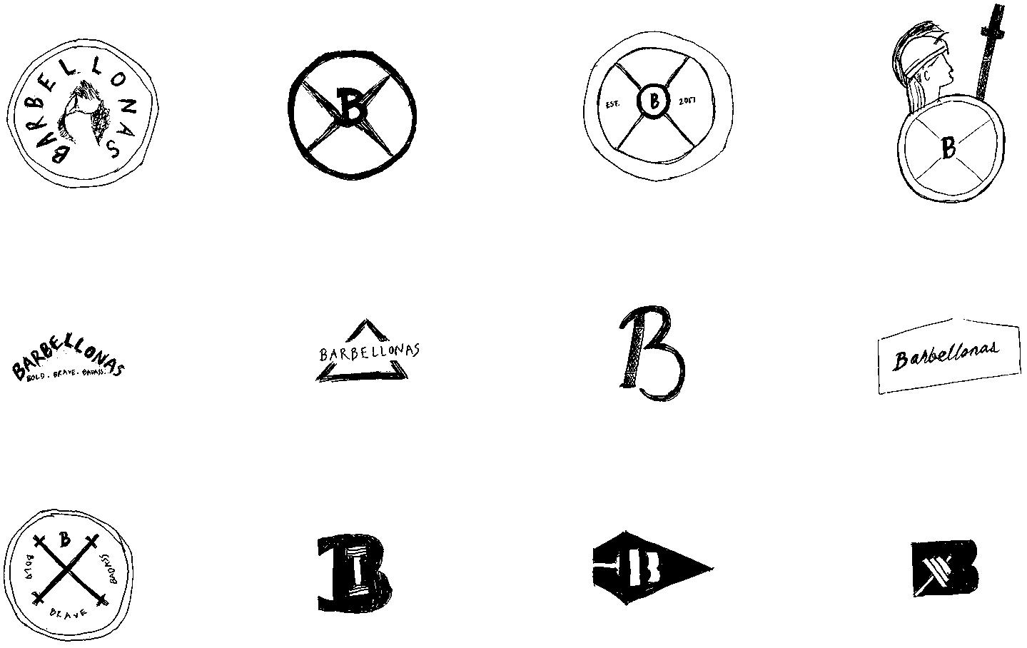 Barbellona logo sketches
