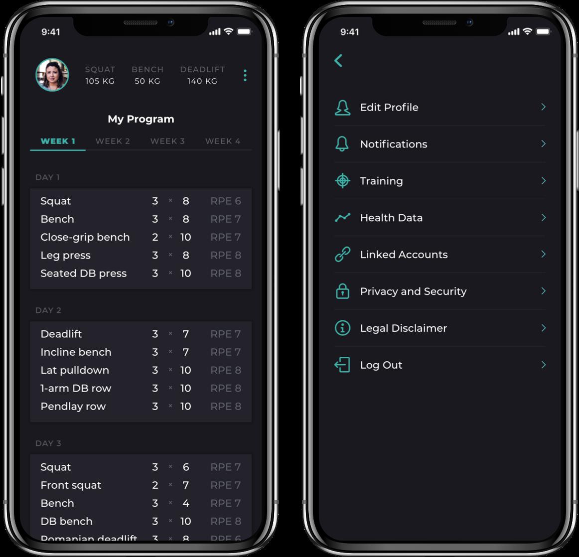 Barbellona mobile app program screens