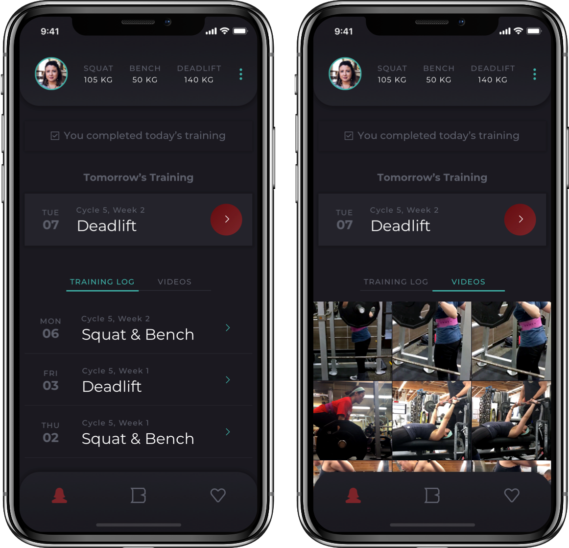 Barbellona mobile app screens for analyzing progress