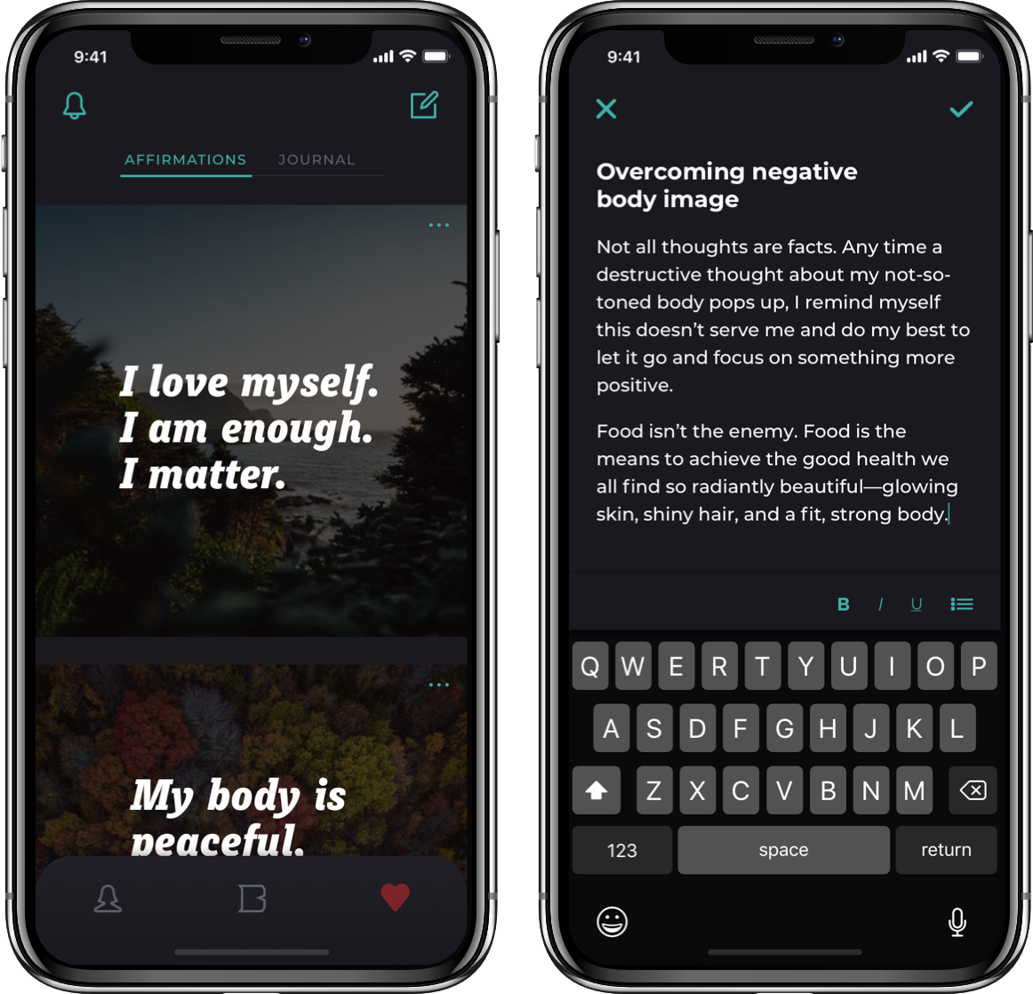 Barbellona mobile app self-care screens
