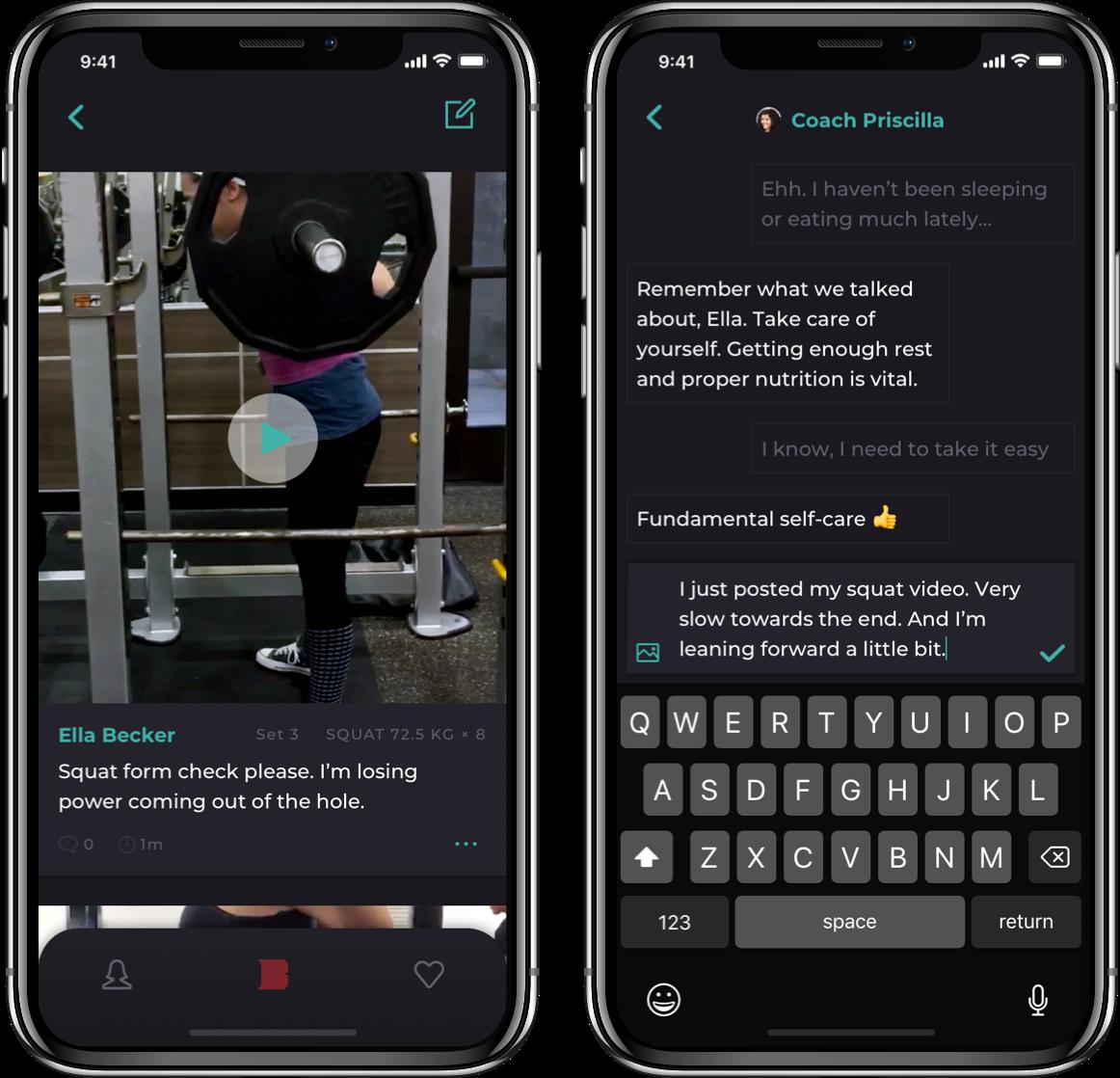 Barbellona mobile app community screens