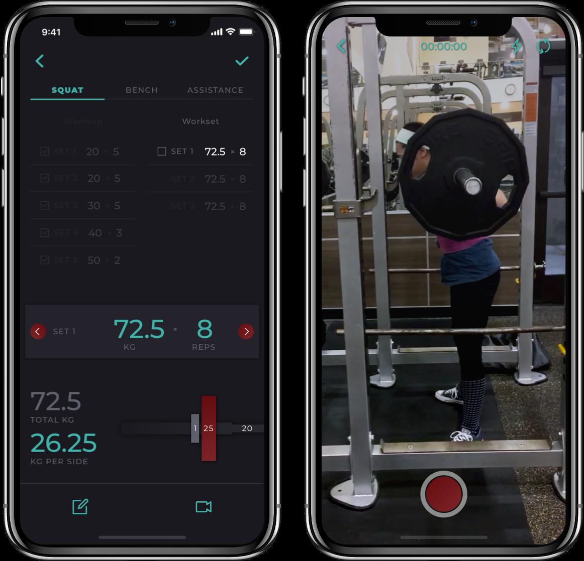 Barbellona mobile app training screens