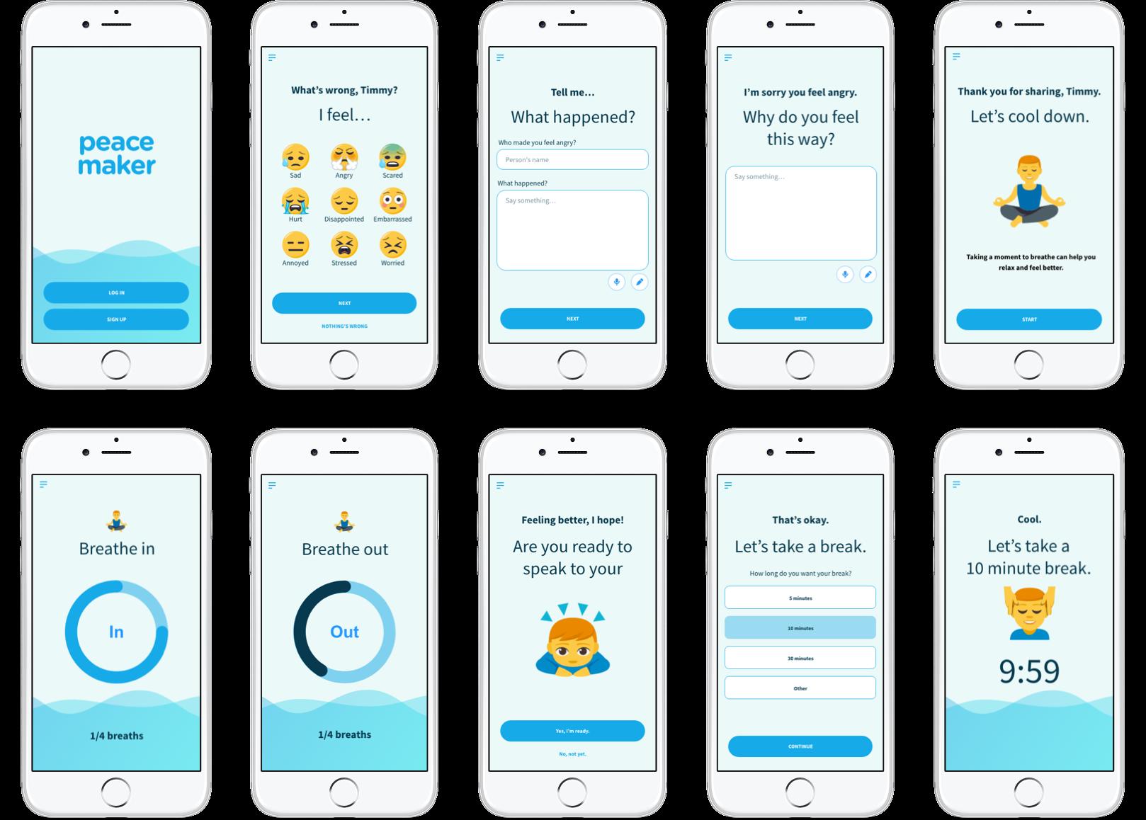 Peacemaker mobile app screens