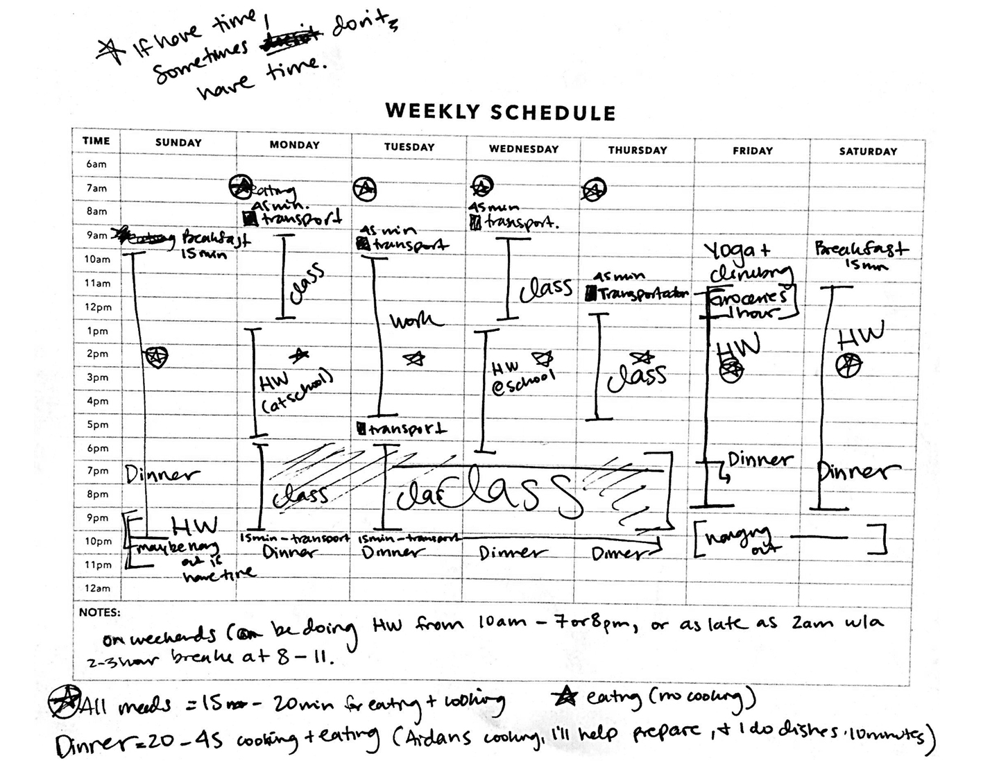 Weekly schedule of a busy student being interviewed for CampusEats research