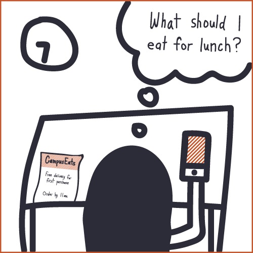 Amanda wonders what she's going to eat for lunch