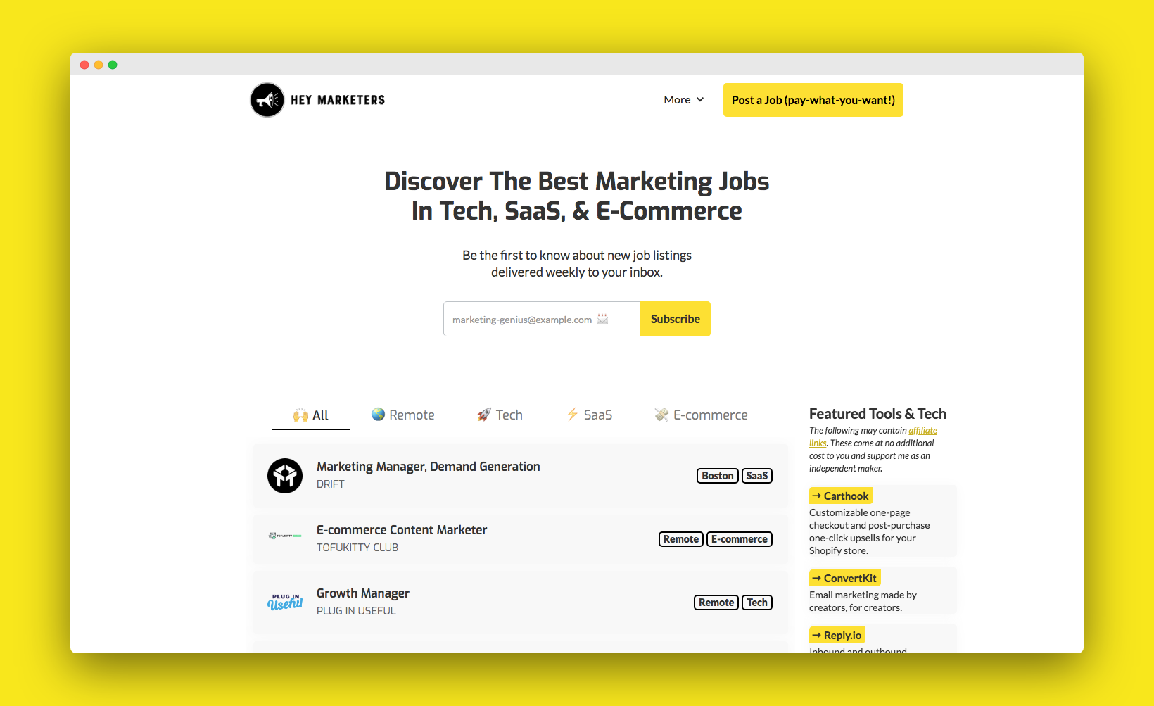 Discover The Best Marketing Jobs In Tech, SaaS, & E-Commerce