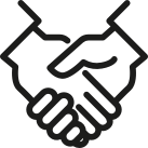 Two hands hand shake treatment contract icon