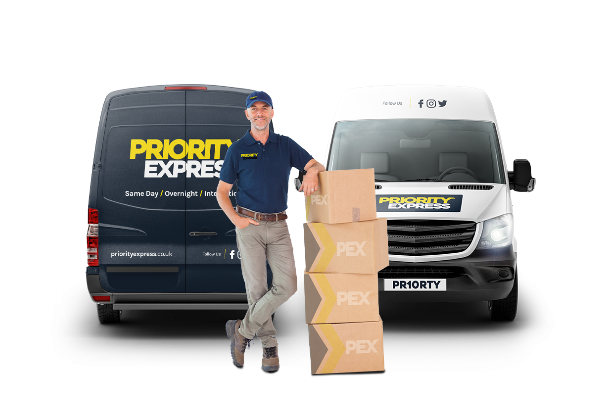 PEX delivery man and vans