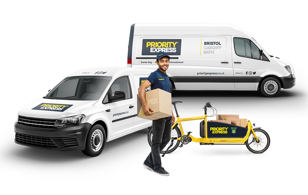 Priority Express parcel delivery vans, bike and courier
