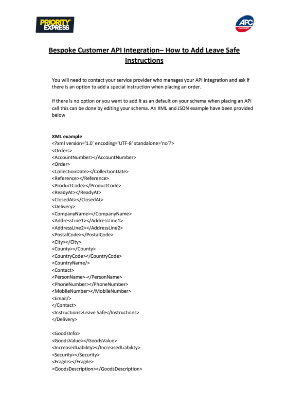 APC Bespoke Customer API Integration