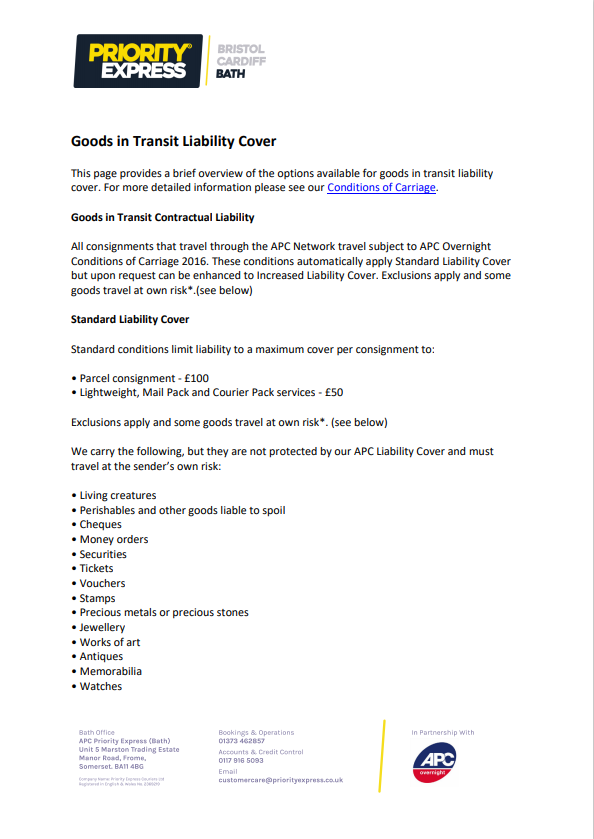 Transit Liability and Restricted Item List