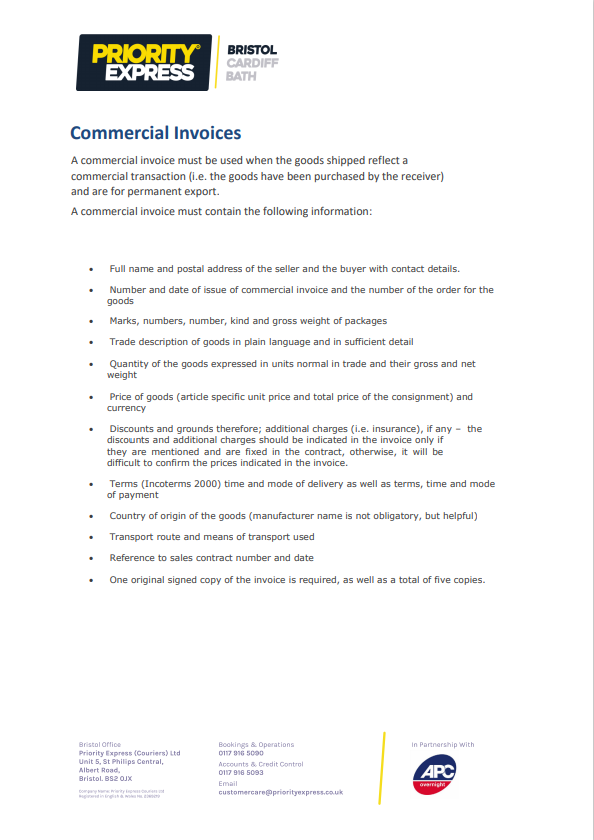 Commercial Invoices Guide