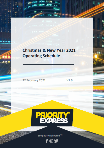 Christmas and New Year 2021 Operating Schedule
