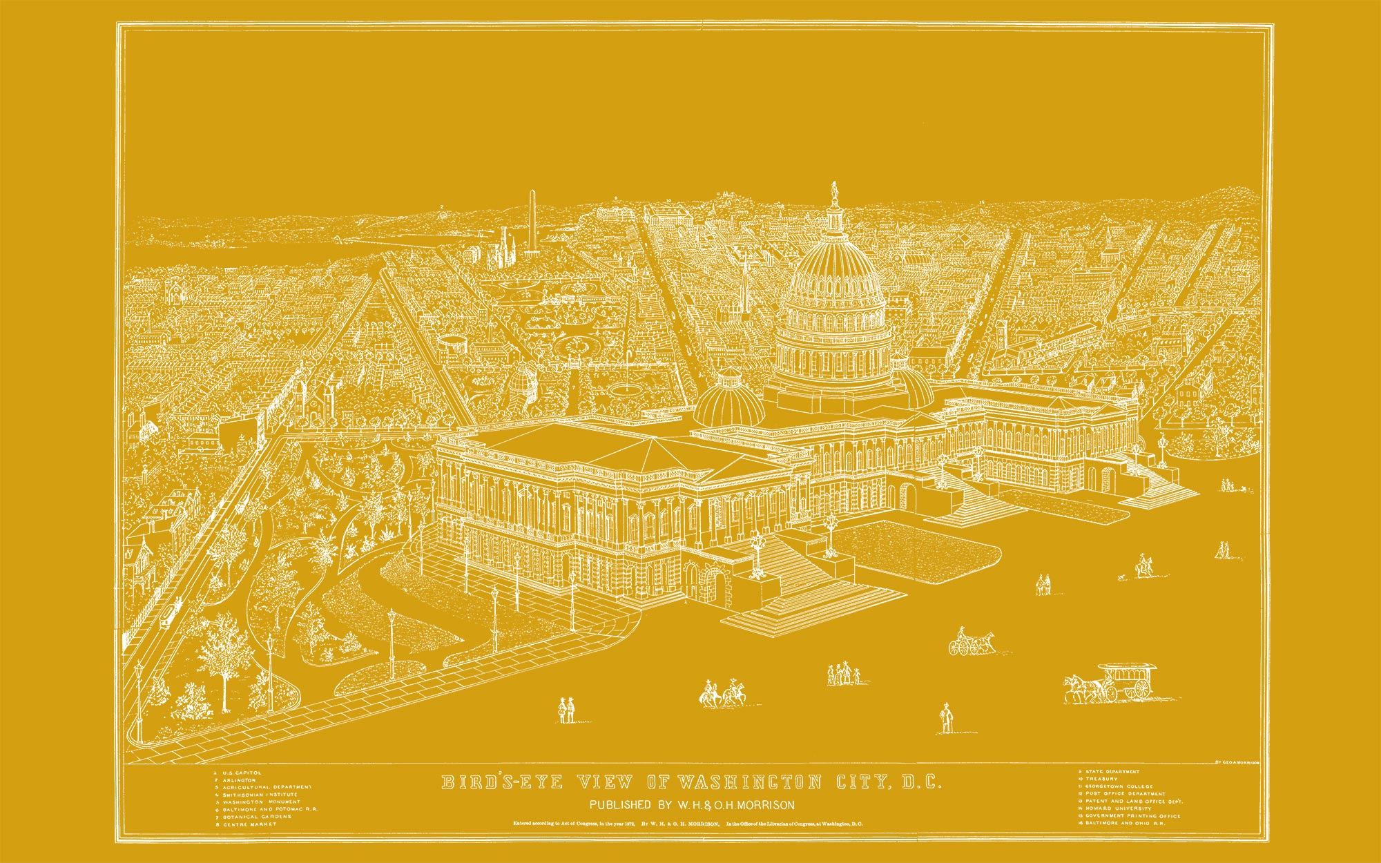 "US Capitol and DC 1872 (yellow canvas, 48"" x 30"")"