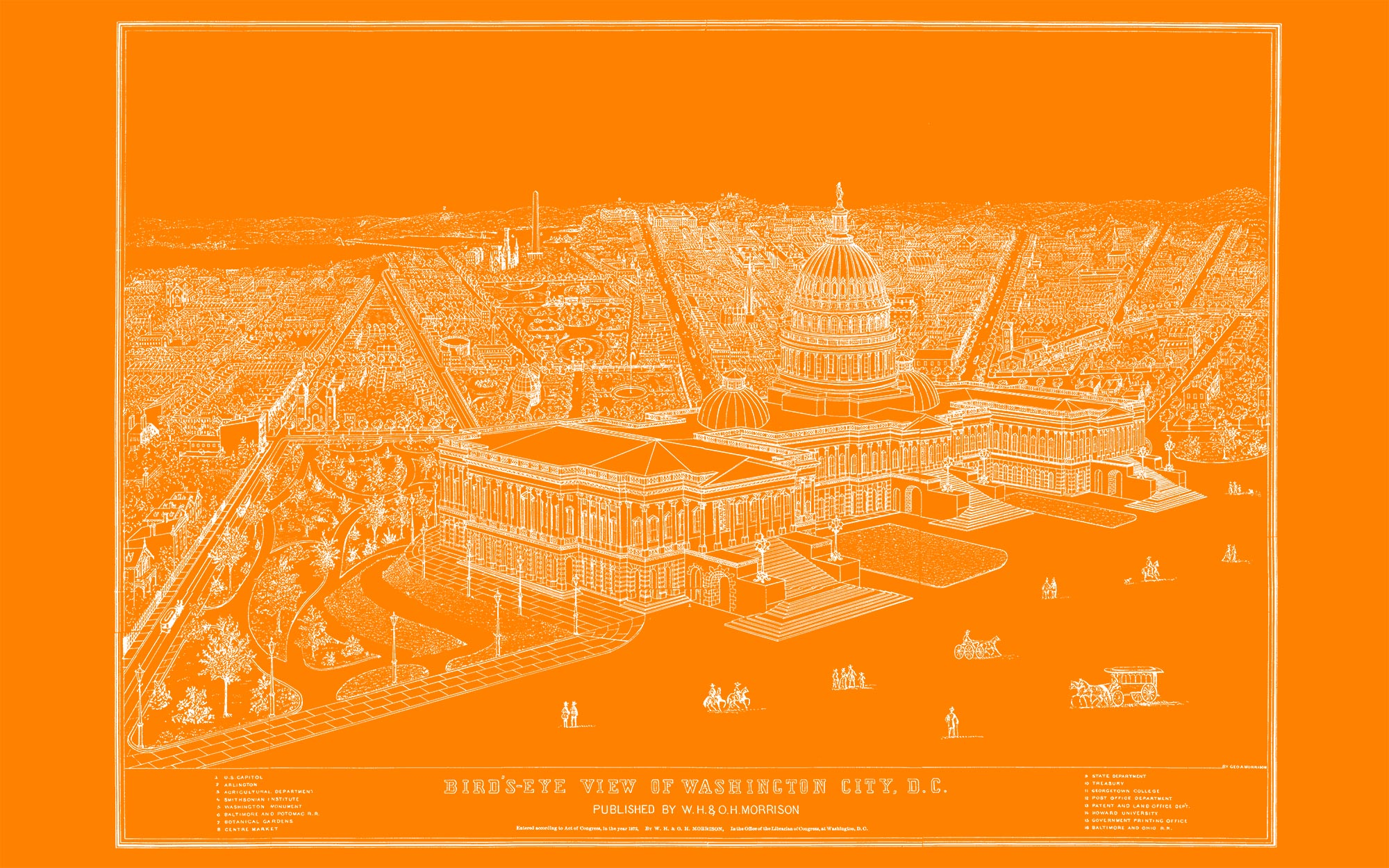 "US Capitol and DC 1872 (orange canvas, 48"" x 30"")"