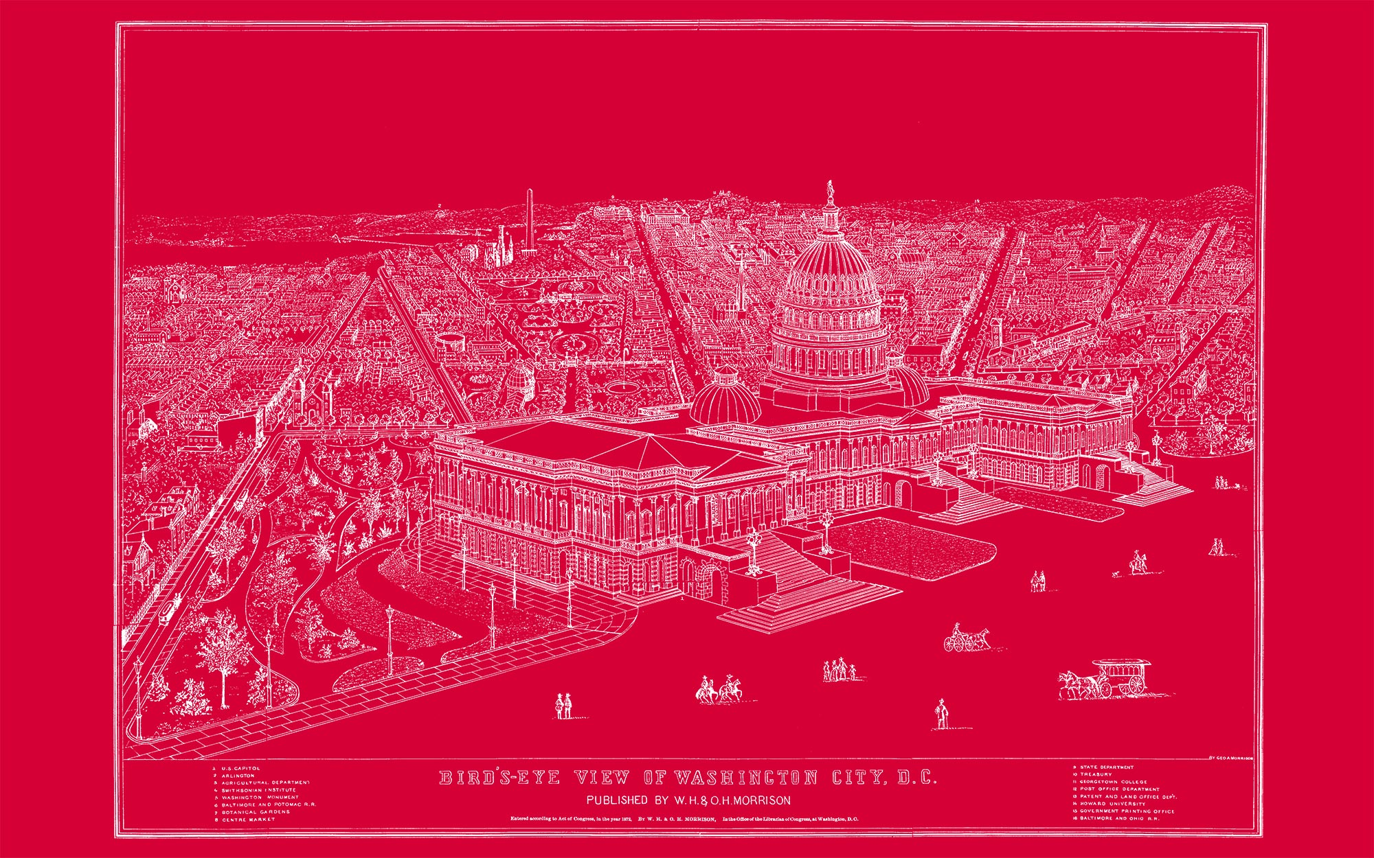 "US Capitol and DC (red canvas, 48"" x 30"")"
