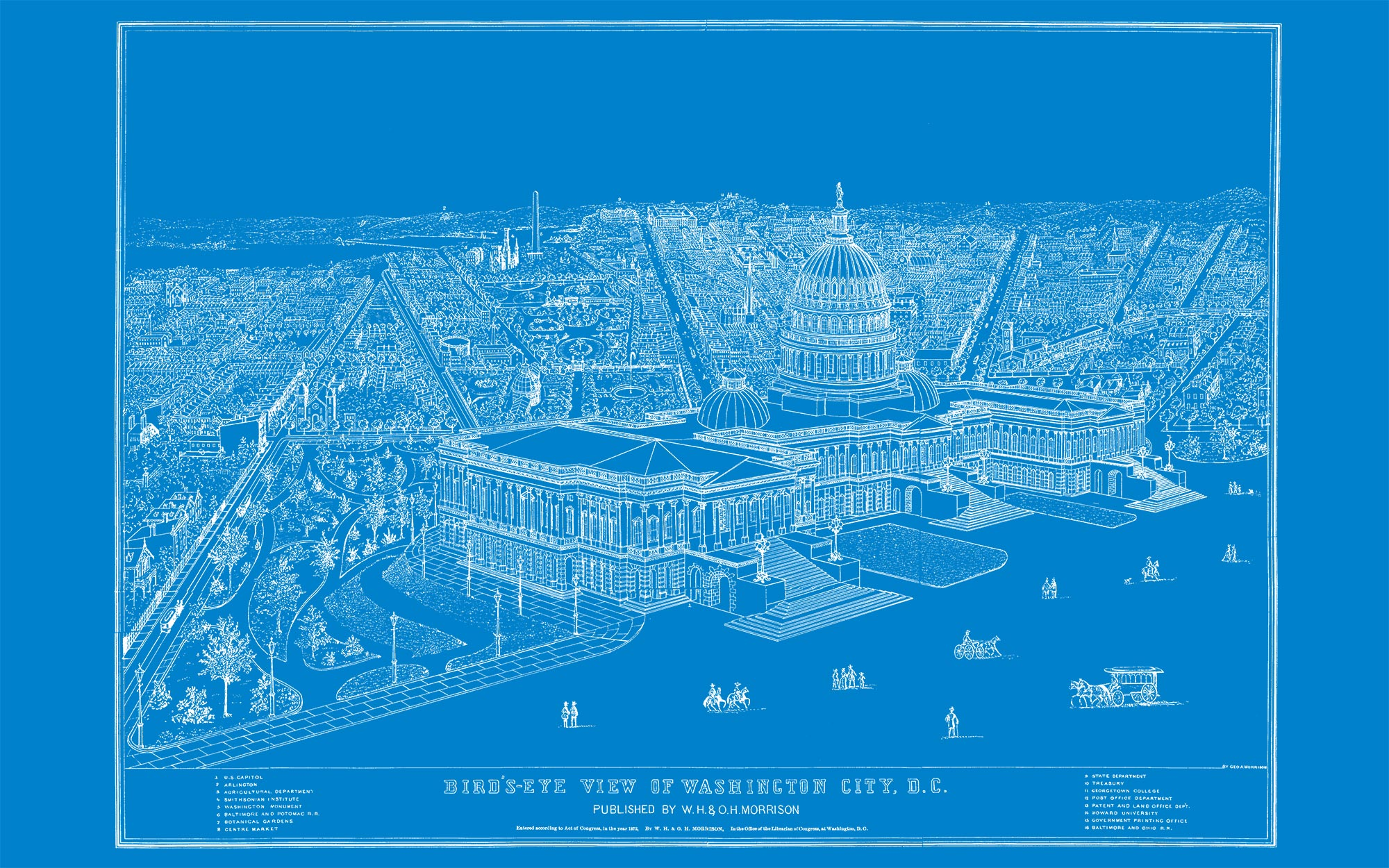 "US Capitol and DC (blue canvas, 48"" x 30"")"