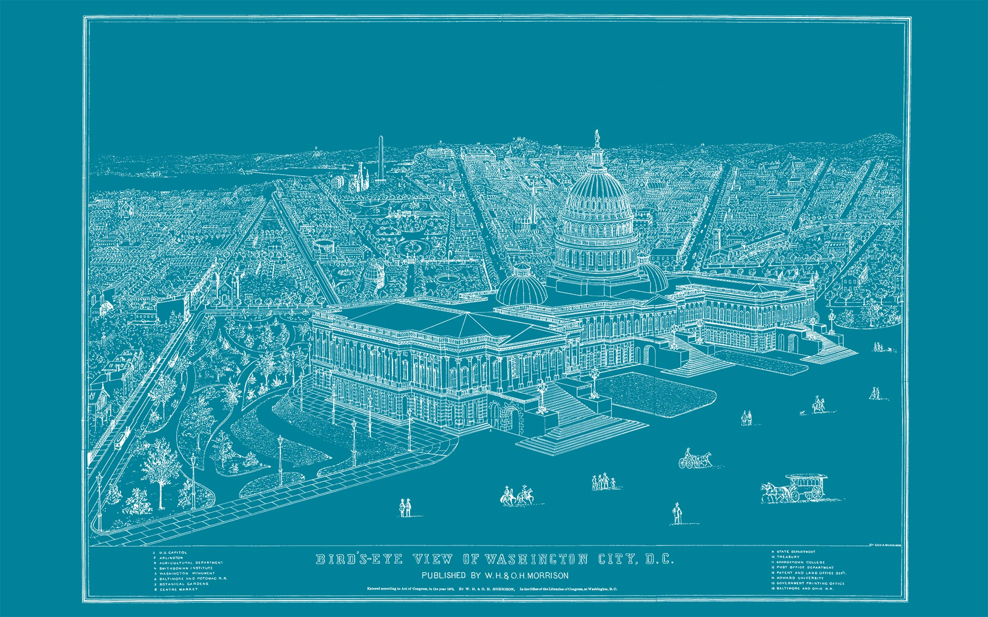 "US Capitol and DC (teal canvas, 48"" x 30"")"